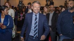 National finance spokesman Paul Goldsmith arriving at National's election night HQ at the Royal NZ Yacht Squadron. (Photo / Mark Mitchell)
