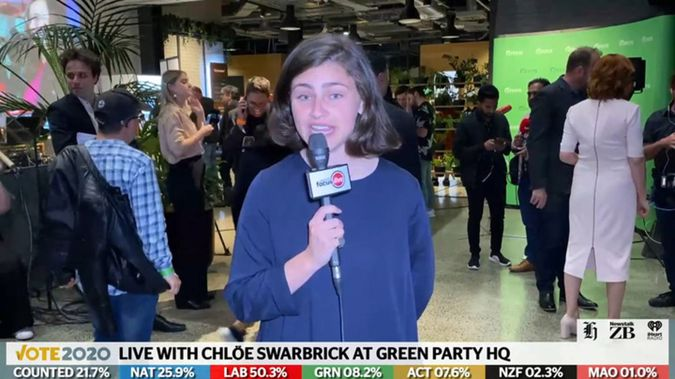 Green Party list MP Chloe Swarbrick at Green Party election HQ.