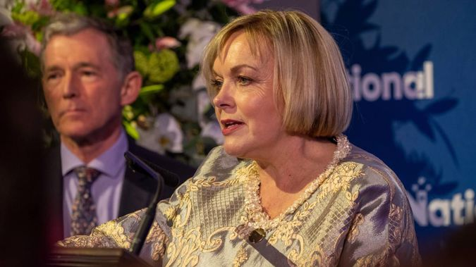 Judith Collins addressing supporters after conceding a devastating defeat to Labour in the 2020 election. (Photo / NZ Herald)