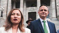 Greens co-leaders Marama Davidson and James Shaw. Photo / RNZ Jason Walls