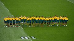 The Wallabies line up for the national anthem ahead of the opening Bledisloe Cup test in Wellington. (Photo / Photosport)