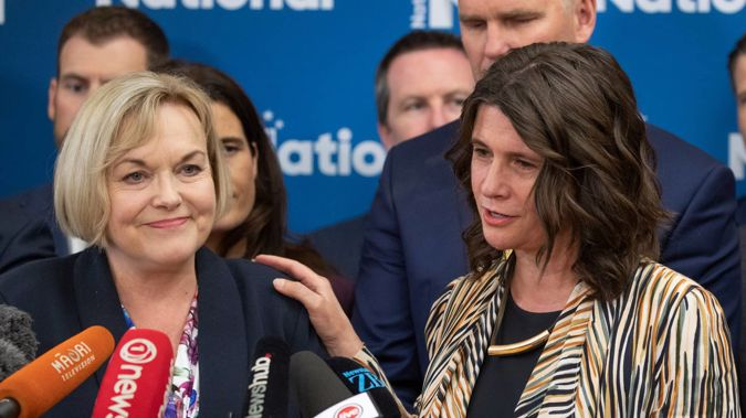 National leader Judith Collins with Maungakiekie MP Denise Lee during their press conference after their caucus meeting at Parliament. Photo / Mark Mitchell