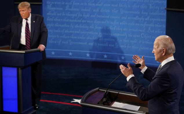 Donald Trump and Joe Bidden in the first debate. Photo / file