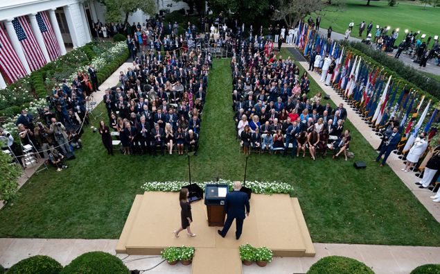 Donald Trump addressing media. Photo / AP