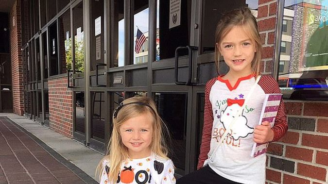 Nora (right, seven) and three-year-old Aven were rescued from their father's car on Saturday. Photo / Supplied