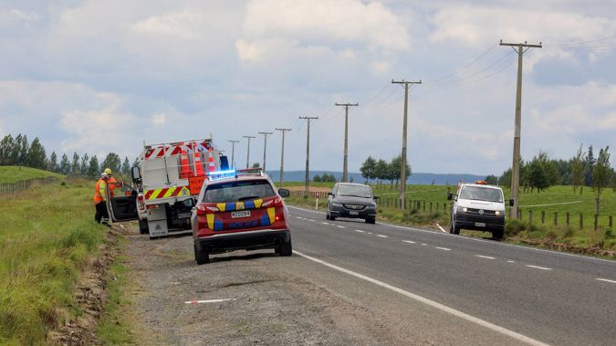 Emergency services at the scene of a multi-vehicle crash on State Highway 5 near Wairakei, north of Taupō. Photo / Andrew Warner