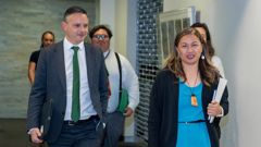 Greens co-leaders James Shaw and Marama Davidson returning from their talks with the Labour leadership at Parliament this evening. (Photo / Mark Mitchell)