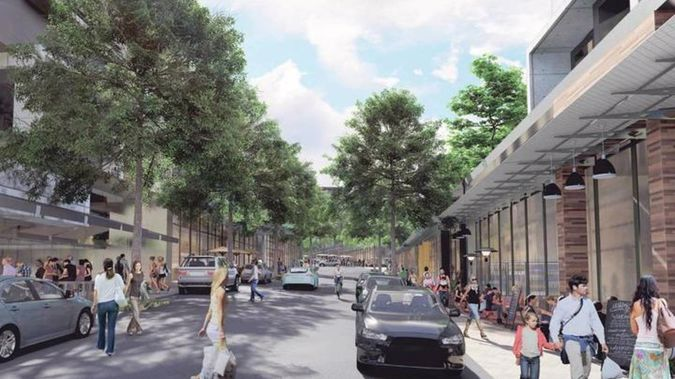 An artist's impression of the new town centre Kiwi Property is planning to build in Drury, south of Auckland.