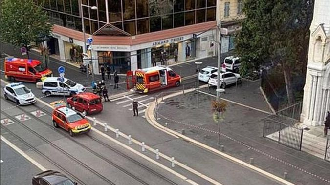 The attack began around 9am outside a church, according to local reports.