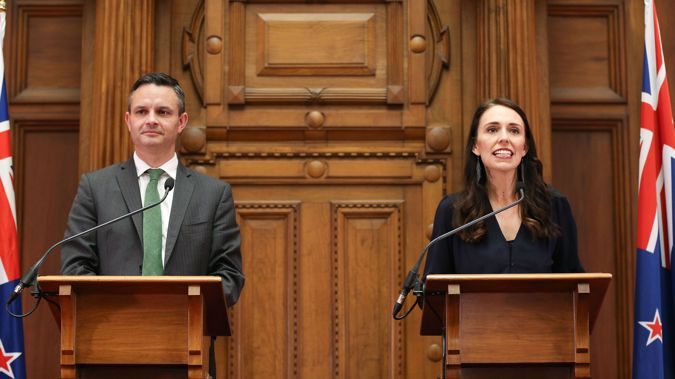 James Shaw and Jacinda Ardern at the start of the last Parliamentary term in 2017.