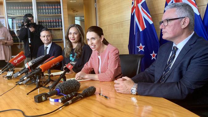 James Shaw, Marama Davidson, Jacinda Ardern and Kelvin Davis. (Photo / Newstalk ZB)