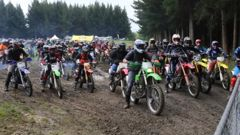 The start line of the Lake to Sea Trail Ride on Saturday morning. Photo / John Cosgrove