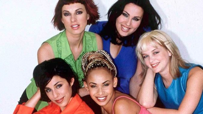 In 1999, Erika Takacs, Joe Cotton, Carly Binding, Keri Harper and Megan Alatini were chosen to form what would become New Zealand's most iconic girl group - TrueBliss. Photo / NZ On Screen
