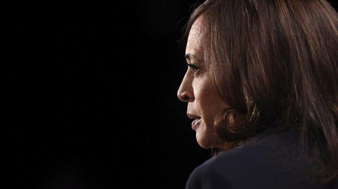 Democratic vice presidential candidate Sen. Kamala Harris, D-Calif., listens during the vice presidential debate. Photo / AP