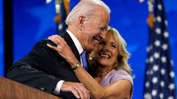 Joe Biden, who is now President-elect of the US, with wife Jill. Photo / AP