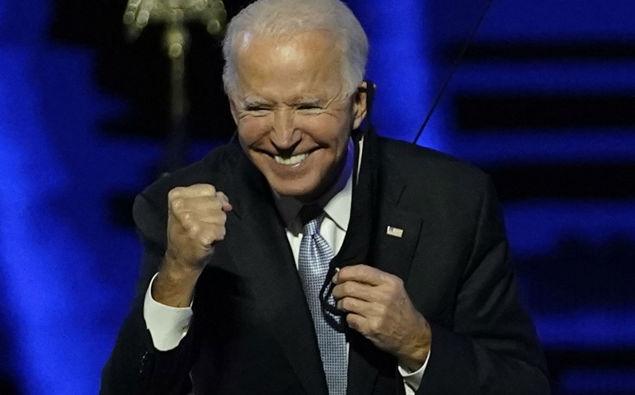 President-elect Joe Biden gesturing to supporters. (Photo / AP)