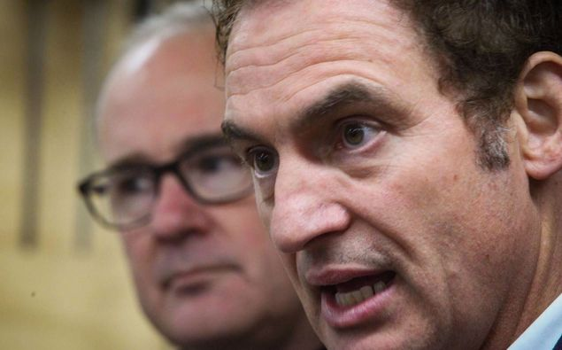 Stuart Nash (right) replaced Phil Twyford (left) as the minister responsible for the America's Cup in the recent Cabinet reshuffle. Photo / Hawke's Bay Today