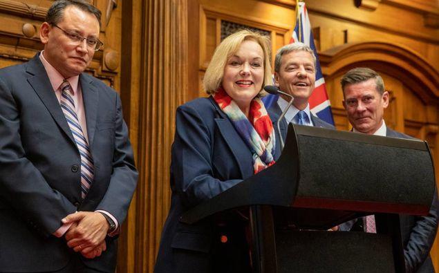 Judith Collins announces her new caucus. (Photo / NZ Herald)