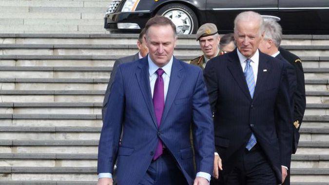 Former NZ Prime Minister Sir John Key and US President-elect Joe Biden Photo / RNZ