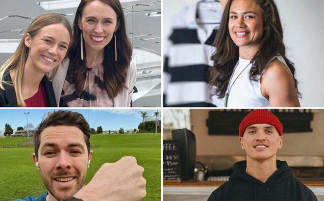 Kiwi influencers from top right: Jazz Thornton with Jacinda Ardern, Ruby Tui, Raniera Rewiri and Clint Roberts. Photos / via Instagram