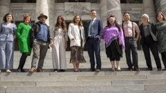 Green Party co-leaders Marama Davidson and James Shaw with their caucus on Parliament Steps. (Photo / NZ Herald)