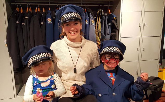 Nicole Grey with her two children visiting police museum at the college while she waited for her diagnosis. (Photo / Supplied)