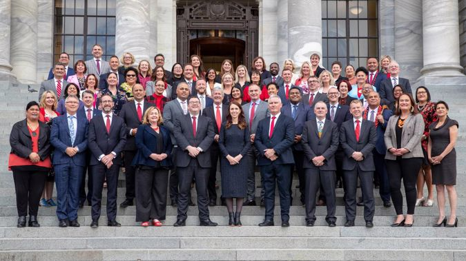 Prime Minister Jacinda Ardern and the Labour caucus on Parliament Steps for their official photograph. Photo / Mark Mitchell