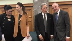 New Foreign Minister Nanaia Mahuta, PM Jacinda Ardern, Winston Peters and Speaker Trevor Mallard at Parliament. Photo / Audrey Young