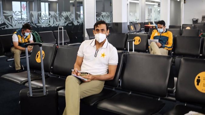A picture posted to Twitter of the Pakistan Cricket team arriving in Christchurch on November 24 for their New Zealand tour. Photo / Supplied