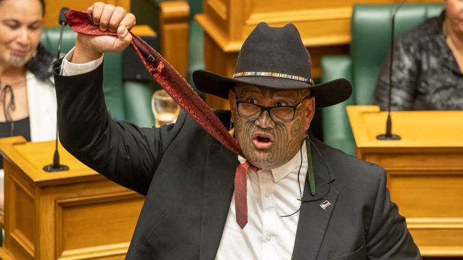 Maori Party co-leader Rawiri Waititi holding his tie aloft to symbolise a noose during his maiden speech in Parliament. Photo / Mark Mitchell