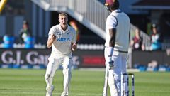 Kyle Jamieson celebrates the wicket of Jason Holder. Photo / Photosport