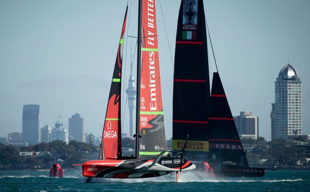 Team NZ and Luna Rossa during the second day of practice. Photo / Dean Purcell