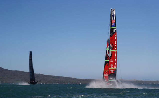 Team New Zealand trailing American Magic during the final race of the first day of the World Series. Photo / Dean Purcell