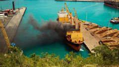 'It's billowing out': Explosions heard as fire starts on a ship at Napier Port. Video / Supplied