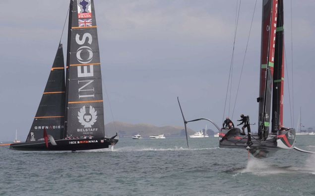 Team New Zealand overcame a poor start in their second race to beat Ineos Team UK. Photo / Michael Craig