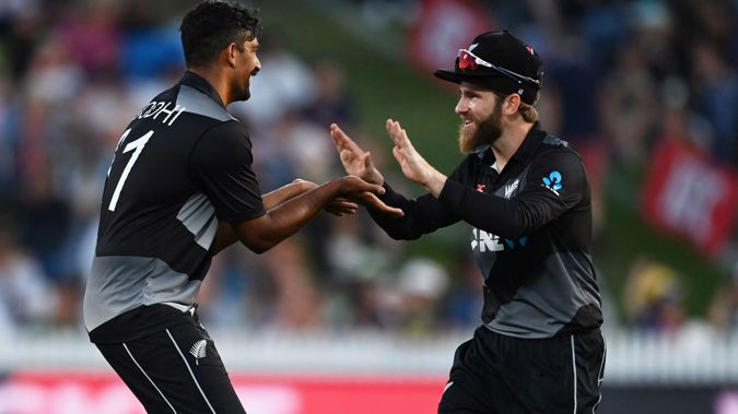 Ish Sodhi and Kane Williamson celebrate a wicket. Photo / Photosport