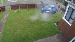 The crash was captured by the home's security camera. (Video / Supplied)
