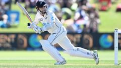 New Zealand captain Kane Williamson batting. New Zealand Black Caps v Pakistan. International Test match cricket. Bay Oval, Tauranga. Photo / Getty Images.