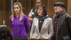 Aya Al-Umari (left) with her parents at the sentencing of the Christchurch mosque terrorist. Photo / Pool