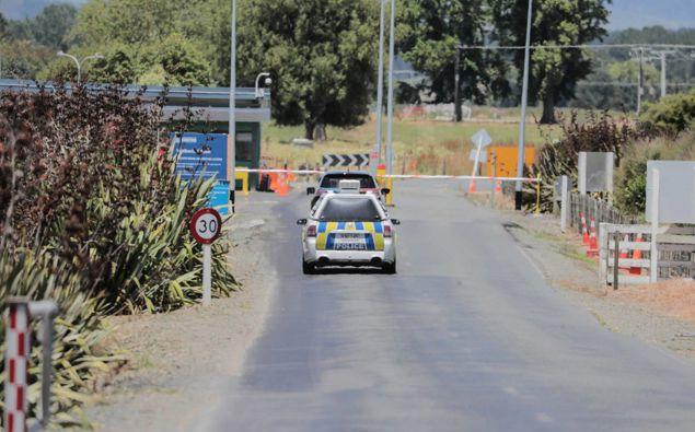 Security outside the Waikeria prison near Te Awamutu this week. Photo / Michael Craig