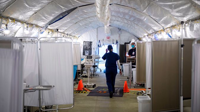 A temporary hospital set up to treat Covid-19 patients in Los Angeles. (Photo / CNN)