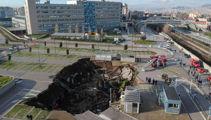 Huge sinkhole opens up outside Italian hospital treating Covid patients