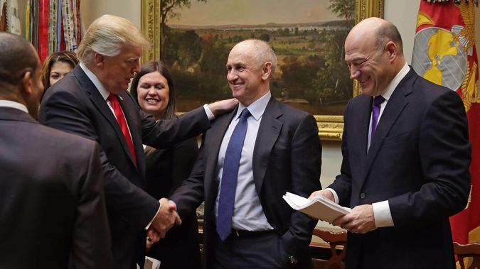 US President Donald Trump (left) calls White House Director of Strategic Initiatives Chris Liddell (centre). Photo / Supplied