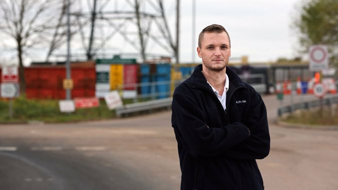 James Howells at the Newport Amenity Centre and landfill site. Howells accidentally threw out a bitcoin fortune and hopes to dig it up.