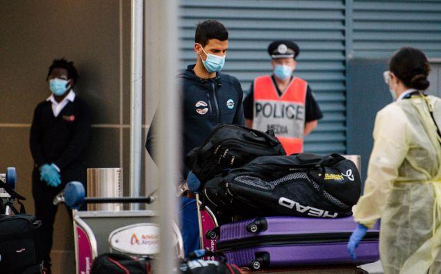 Novak Djokovic arriving in Australia. (Photo / AAP)