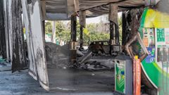 The BP service station in Bay View, Napier was badly damaged from the blaze. Video / Hayley Monro