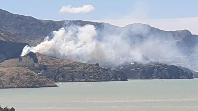 The fire at Cass Bay on Tuesday. Photo / Chris Lynch