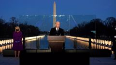 President-elect Joe Biden speaks during a COVID-19 memorial, with lights placed around the Lincoln Memorial Reflecting Pool. (Photo / AP)