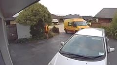 Courier driver drops of package and caught urinating in garden. Video / Supplied