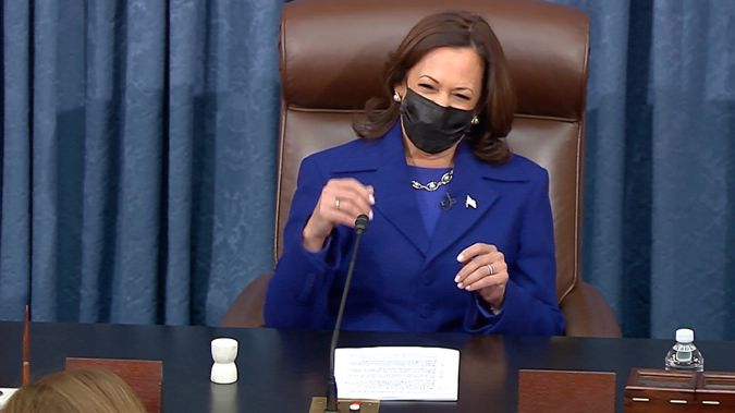 Kamala Harris precedes over the Senate. (Photo / AP)
